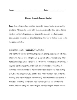 Literary Analysis Question and guide for Hatchet by Gary paulsen