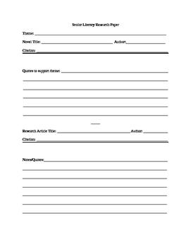 Literary Analysis Research Essay Scaffolding Worksheet