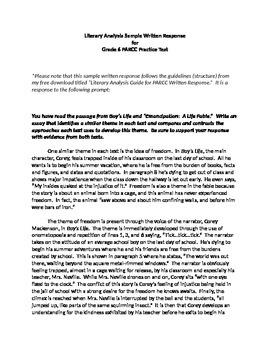 Literary Analysis Sample Written Response for Grade 6 PARCC Practice Test