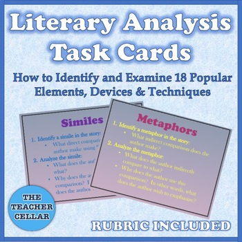 Literary Analysis Task Cards - A Guide for Identifying & Analyzing Literature