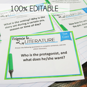 Literary Analysis Task Cards Comprehension, Prompts, Any Prose Text