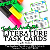 Literary Analysis Task Cards, Response to a Text, Analysis of Any Story