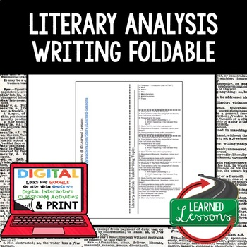 Literary Analysis Task Writing Foldable (Paper and Google Version)