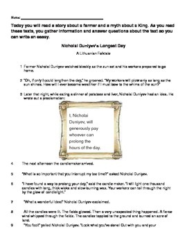 Literary Analysis Task with Writing set 5 (2 options for prompts included)