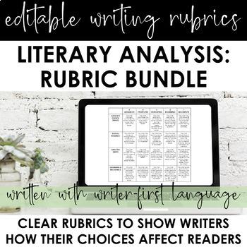 "Literary Analysis Writing Rubrics BUNDLE: 6 Editable CCSS ""Writer-First"" Rubrics"