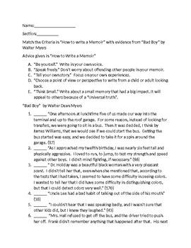 "Literary Analysis of ""Bad Boy A Memoir"" by Walter Dean Myers"