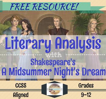 Shakespeare's A Midsummer Night's Dream: Literary Analysis- Digital & Printable!