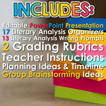 Literary Analysis with Sticky Notes: Activities, Writing, and PowerPoint