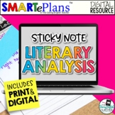 Literary Analysis with Sticky Notes: Print and Digital Bun