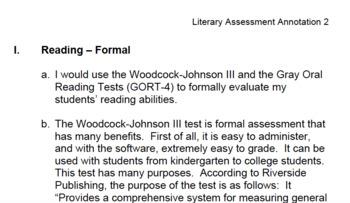 Literary Assessment Annotation