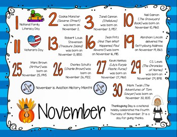 Literary Calendar Poster - November