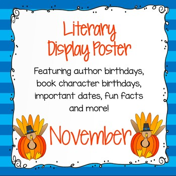 Author Birthday, Literary Events and Special Days Display Poster - November