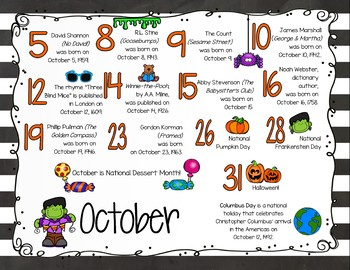 Author Birthday, Literary Events and Special Days Display Poster - October