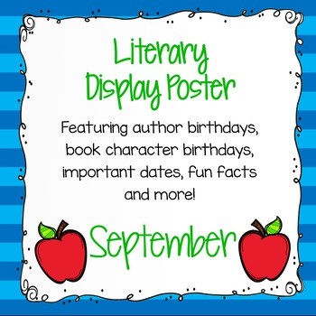 Author Birthday, Literary Events and Special Days Display Poster - September