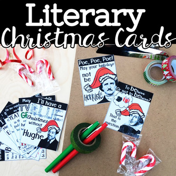 Literary Christmas Cards, English Teacher Holiday Cards, Student Greeting Cards by B's Book Love