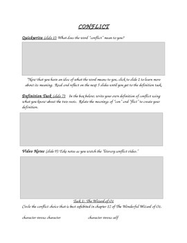 Literary Conflict Center Graphic Organizer