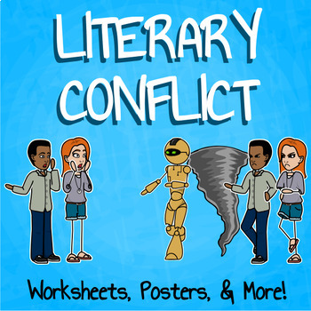 Literary Conflict Lesson Plan  with Presentation, Workshee
