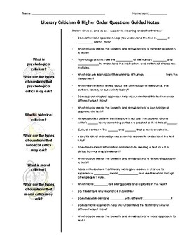 Literary Criticism PowerPoint & Guided Notes