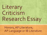 Literary Criticism Research Essay: Honors, AP or IB
