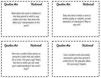 Literary Criticism Task Cards - Critical Approaches for Writers HS+