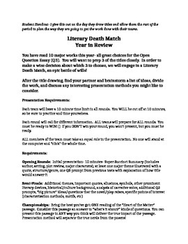 Literary Death Match- AP Year in Review Project