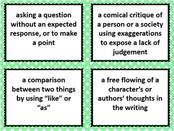 Literary Device 3 Part Cards