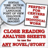 Literary Device/Analysis Sheets for ANY NOVEL/STORY (Cente