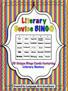 Literary Device Bingo - Set of 30 Unique Cards
