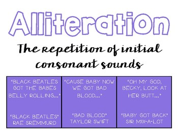 Literary Device Classroom Posters (With Examples from Popular Songs)