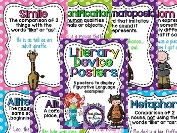 Literary Device & Figurative Language Posters (Colored Polka Dots)