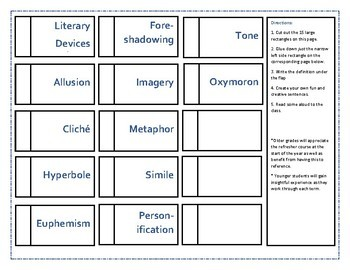 Literary Device Interactive Notebook Printable