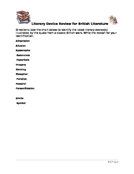 Literary Device Review Activity for British Literature
