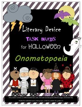 Literary Device Task Cards for Halloween- ONOMATOPOEIA!