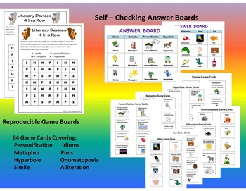 Figurative Language 4 In a Row Game -   2 Printable Games - EZ Center