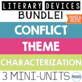 Literary Devices Mini-Unit Bundle:  Theme, Conflict and Characterization Lessons