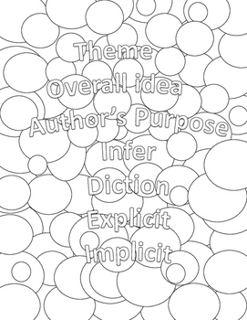 Literary Devices Coloring Pages: High School or Middle School