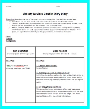 Literary Devices Double Entry Diary