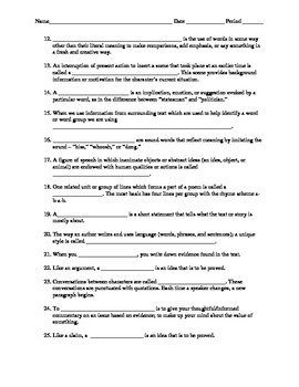Literary Devices (Elements) and Reading Terms Quizzes and Answer Keys