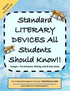 Introductory Literary Devices- Gr.7-12 Worksheet; Keys, Qu