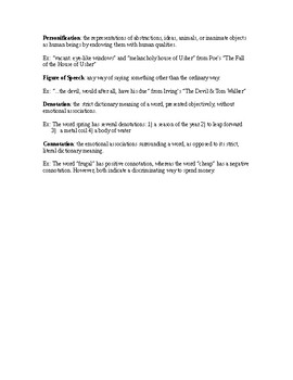 Literary Devices Handout for Gothic Literature (Irving & Poe)