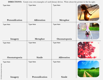 Literary Devices Activities for Google Drive & Print
