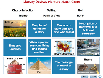 Literary Devices: Memory Match Game - PC Gr. 3-8
