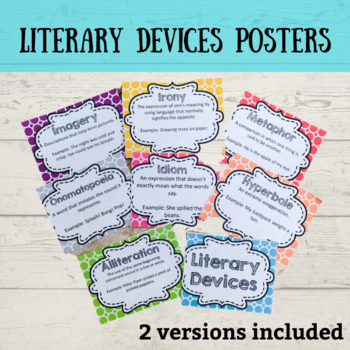 Literary Devices Colorful Posters By Oh So Simple Tpt