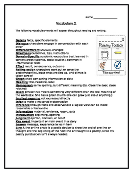 Vocabulary of Literary Devices, Reading Elements, and Lang