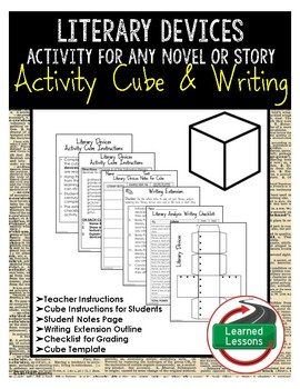 Literary Devices Activity Research Cube with Writing Extensions (English)