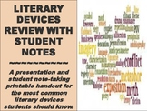 Literary Devices Review With Student Notes