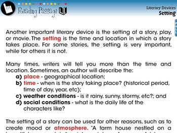 Literary Devices: Setting - MAC Gr. 3-8