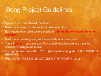 Literary Devices Song Project