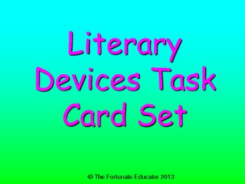 Literary Devices Task Card Set