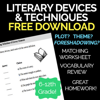 Literary Devices & Techniques Matching Worksheet